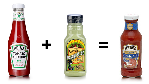 Ketchup + Wasabi Sauce = Cocktail Sauce
